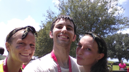 Rugged Maniac selfie with two awesome young ladies who let me join them in the race.