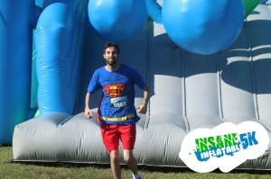 Yes, I'm wearing a Superman shirt at the Insane Inflatable 5K. And it has a cape.